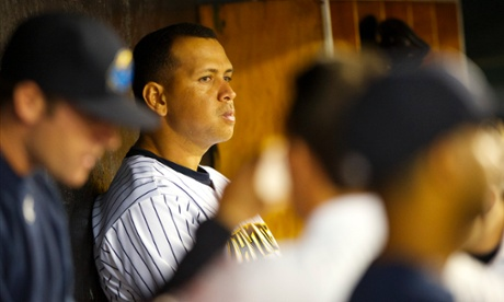 03 Aug 2013, Trenton, New Jersey, USA --- New York Yankees Third Baseman Alex Rodriguez sits in the dugout during a minor league game for the AA Trenton Thunder in Trenton, NJ on August 3, 2013. He is facing a suspension by Major League Baseball for his alleged use of steroids with the Biogenesis clinic in Florida. --- Image by   Mark Makela/Corbis 3b Alex Rodriguez American League anxiety arod a-rod athlete autograph baseball baseball