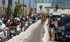 People wait to cross the border in Gibraltar