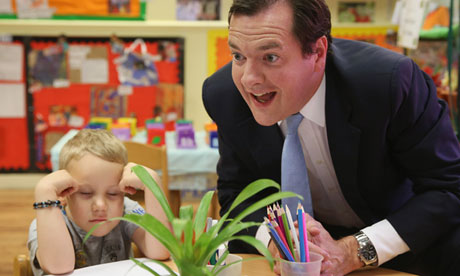George Osborne in a nursery
