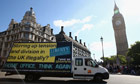 Liberty van with poster, Westminster