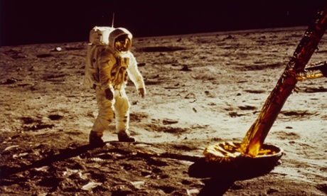American astronaut Edwin 'Buzz' Aldrin Jnr walks on the surface of the moon during the Apollo 11 mission.