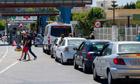 Motorists queue at the border crossing b