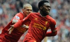 Liverpool's Daniel Sturridge celebrates his opening goal.