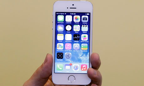 The iPhone 5S at its launch in California on Tuesday