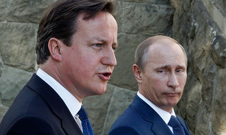 'Who are you calling weak and insignificant?' … David Cameron and Vladimir Putin.