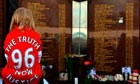 A child in front of the Hillsborough memorial at Liverpool's Anfield ground earlier this year.