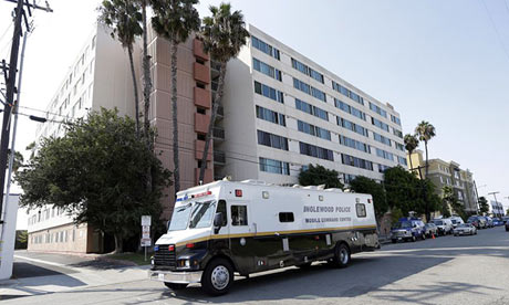 A police mobile command centre outside the Los Angeles veterans' home where airport hoax suspect Nna Alpha Onuoha lives. Photograph: Reed Saxon/AP