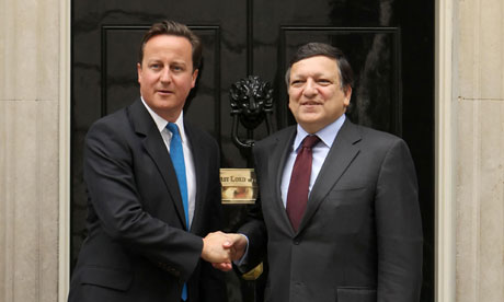 David Cameron greets José Manuel Barroso outside 10 Downing Street