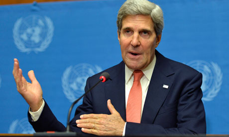 John Kerry speaks after a meeting with Russian foreign minister Sergey Lavrov in Geneva
