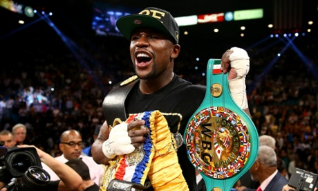 Floyd Mayweather Jr. celebrates