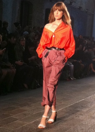 Paul Smith, contrasting colours, blue tailored shorts worn with relaxed chiffon shirts, wide leg trousers and trouser suits very Lauren Hutton seventies.
