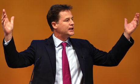 Nick Clegg speaking at the Liberal Democrat conference