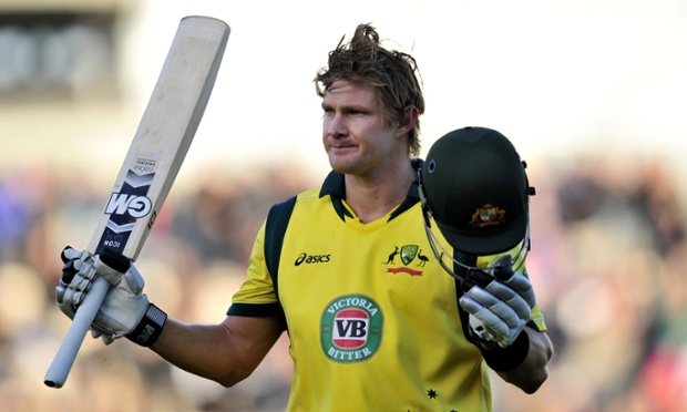 Australia's Shane Watson leaves the pitch after being caught out by England's Jos Buttler for 143.