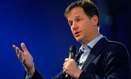 Nick Clegg answers delegates' questions at the Liberal Democrats' conference in Glasgow