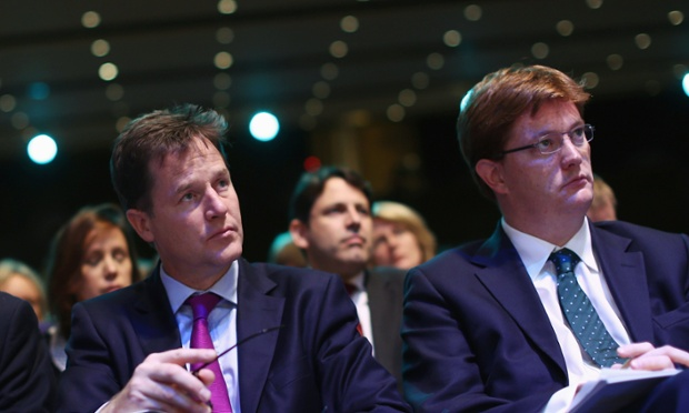 Nick Clegg and Danny Alexander listening to a debate at the Lib Dem conference in Glasgow.