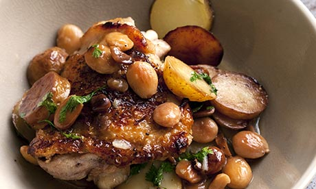 ... | Grilled Chicken Thighs with Green Olives and Sherry Vinegar
