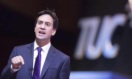 Ed Miliband addresses the TUC conference in Bournemouth