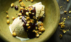 Yotam Ottolenghi's halva ice-cream with chocolate sauce and salted peanuts