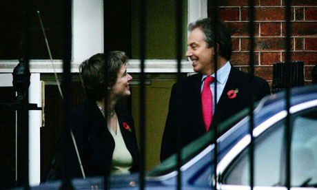 Tony Blair chats with Education Secretary Ruth Kelly outside Downing Street