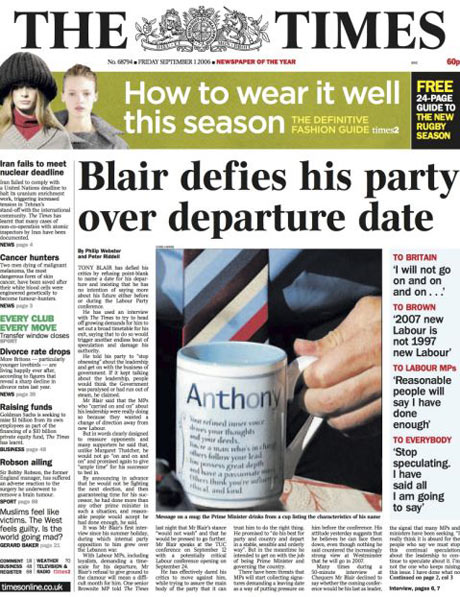 The Times front page, 1 September 2006