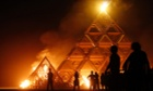 The Temple of Whollyness is burned during the Burning Man arts and music festival in the Black Rock Desert of Nevada, US.