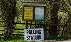 a polling station sign in Harrop Fold, Lancashire.