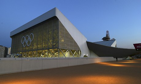 The aquatics centre at the Olympic Park, London.