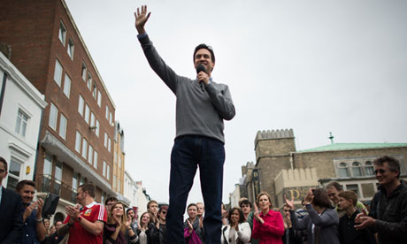Labour leader Ed Miliband addresses a crowd in Brighton town centre