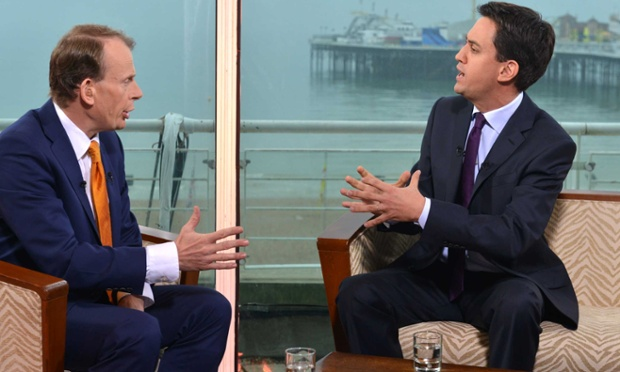 Ed Miliband being interviewed by Andrew Marr.