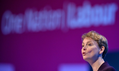 Yvette Cooper speaking at the Labour conference.