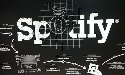 Spotify's lobby at its Stockholm HQ