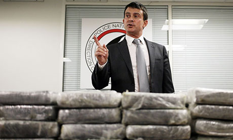 French interior minister Manuel Valls displays part of the cocaine haul.
