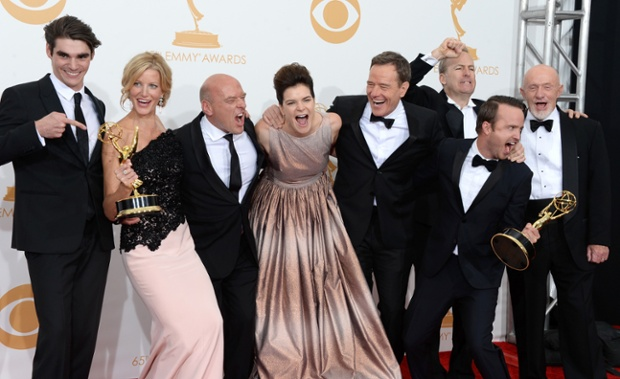 Such a great picture of the cast of Breaking Bad celebrating their success at last night's Emmy's. It really stood out from the thousands of images we've received from the awards. Delightfully infectious!