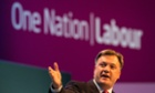 Ed Balls delivering his speech to the Labour conference.