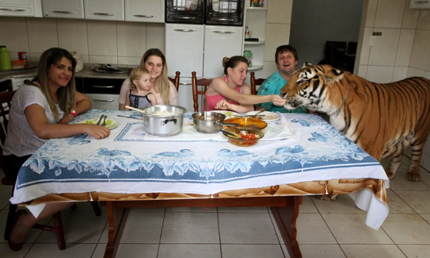 Family lunch in the Borges household with, left to right, Daniella, Uyara and her daughter Rayara, Nayara, Ary and Tom