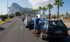 Motorists queue to cross the border between Spain and Gibraltar in August.