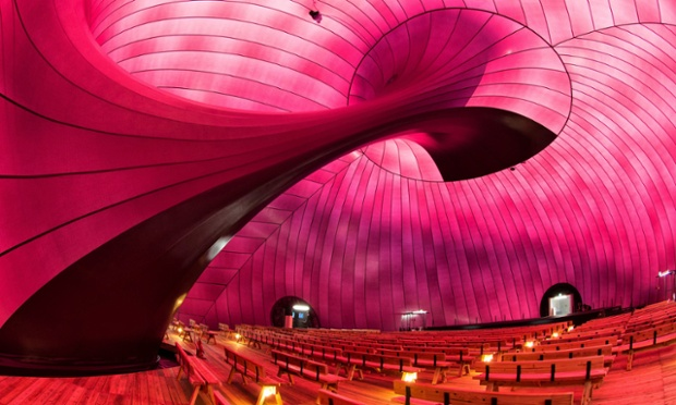 The interior of the inflatable concert hall