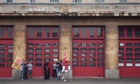 Firefighters man the picket lines outside Northampton fire station