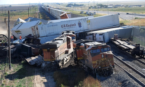 freight train pile up in Texas