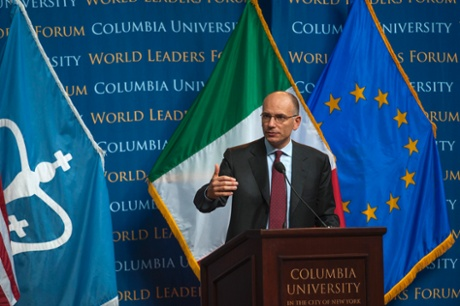 Italian Prime Minister Enrico Letta speaks at the Columbia University's World Leaders Forum in New York September 26, 2013.