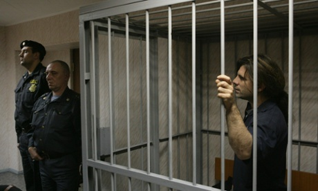 Briton Iain Rogers in the defendants cage at the Murmansk court on Thursday.