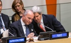 US Secretary of State John Kerry and French Foreign Minister Laurent Fabius  speak while attending a Friends of the Syrian People meeting on the sidelines of the 68th United Nations General Assembly in New York City.