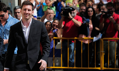 Lionel Messi outside court