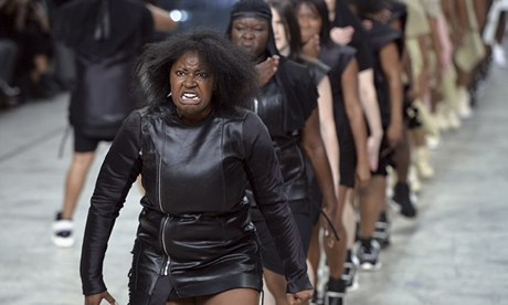 Models in Rick Owens designs Paris fashion week