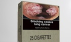 Mock-up of as plain cigarette pack