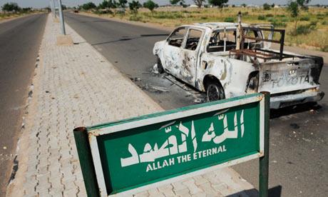 Police truck bombed by Boko Haram in Damaturu, Yobe state, Nigeria