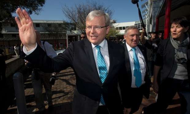 Kevin Rudd in Tasmania on Tuesday 3 September 2013.
