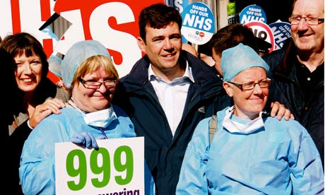TUC general secretary Frances O'Grady, shadow health secretary Andy Burnham and Unite's Len McCluske