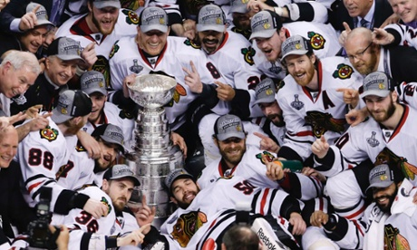 Chicago Blackhawks with Stanley Cup