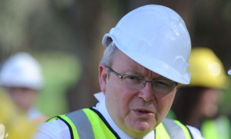 Prime Minister Kevin Rudd wears a hard hat as he visits the construction site of the State Diving Centre and regional aquatic and leisure centre in Melbourne, Wednesday, Sep. 4, 2013. Australian voters will head to the polls on September 7 to elect the 44th Parliament.